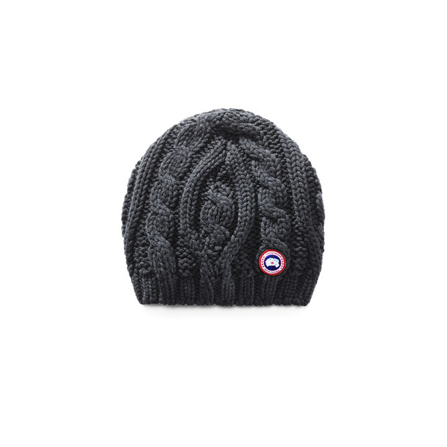 Cheap Canada Goose Women Chunky Cable Knit Beanie Graphite Sale
