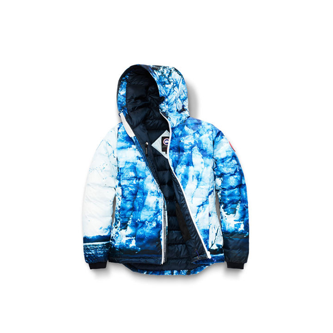 Cheap Canada Goose Women Camp Hoody Glacier Print/Ink Blue Sale